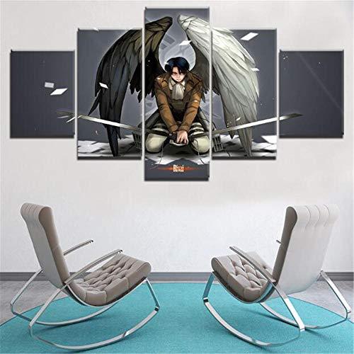 WLHZNB Leinwanddrucke Modernes Zuhause Wandkunst Leinwanddruck Bild 5 Stück Attack On Titan Gemälde Levi Ackerman Anime Poster (Größe A) Kein Rahmen