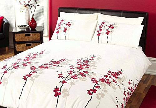 Dreams & Drapes - Oriental Flower - Easy Care Duvet Cover Set - Double, Red