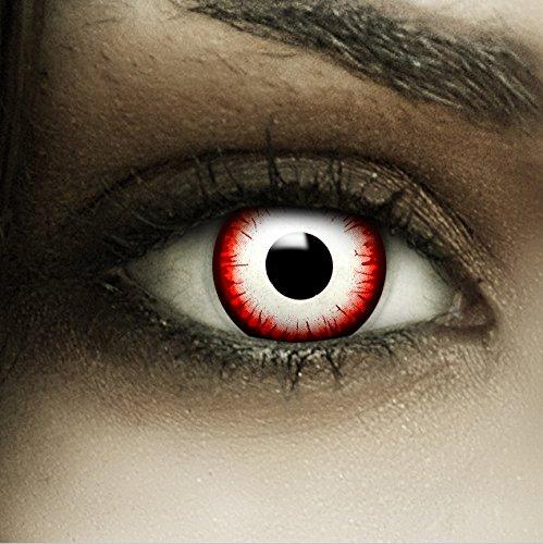 hwarze Kontaktlinsen Undead Zombie + Kunstblut Kapseln + Behälter von FXCONTACTS®, weich, ohne Stärke als 2er Pack - perfekt zu Halloween, Karneval, Fasching oder Fasnacht ()