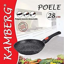 Kamberg - 0008023 - Poêle 28 cm - Manche Amovible - Fonte d'Aluminium - Revêtement type pierre - Tous feux dont induction - Sans PFOA
