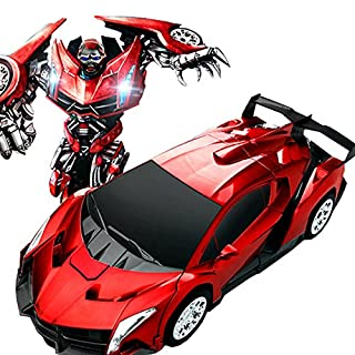 AiSi ashdown Transformers Remote Control Car 1:16 Radio Control RC Electric Rechargeable Car Robots Best Gifts for Kids,Red