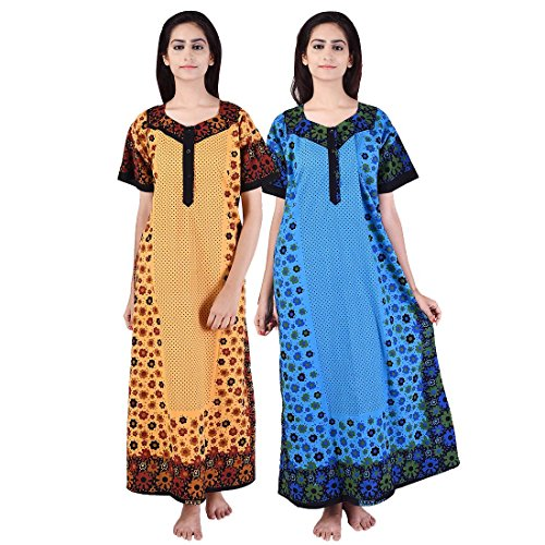 Multi Color Long cotton Nighty (Pack of 2) Combo Womens Printed Nighty Nightwear Cotton Maxi Dress Sleepwear Nightgown