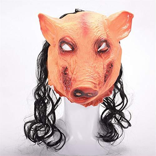 Am 2 Besten Kostüm Face - XIN1993 Halloween Horror Pig Kopf Maske/Evil Ghost Mit Haaren/Geeignet Für Party Prom Face Performance Requisiten