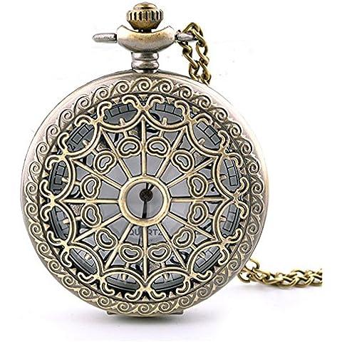 Con estilo Retro Flip tallado collar reloj de bolsillo