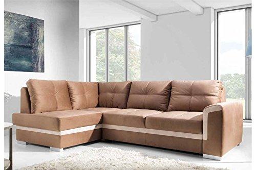 Chloe Design Canapé D'angle Convertible Design BENCE - Marron - Angle Gauche