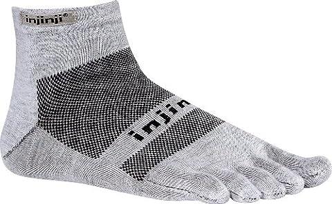 Injinji Performance 2.0 Run Lightweight Mini-Crew CoolMax XtraLife Toe Socks Gray-XL