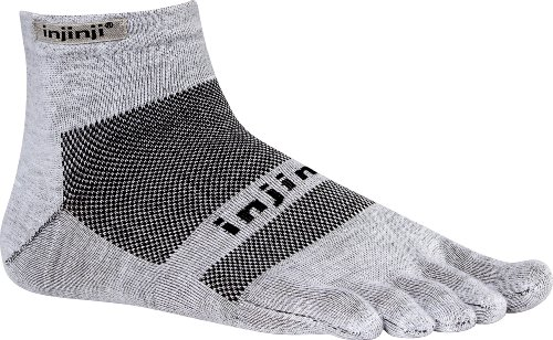 Injinji 2.0 RUN Lightweight Mini Crew Coolmax Xtra Life TOE Socks Gray X Large (Mini-zehen-socken Crew)