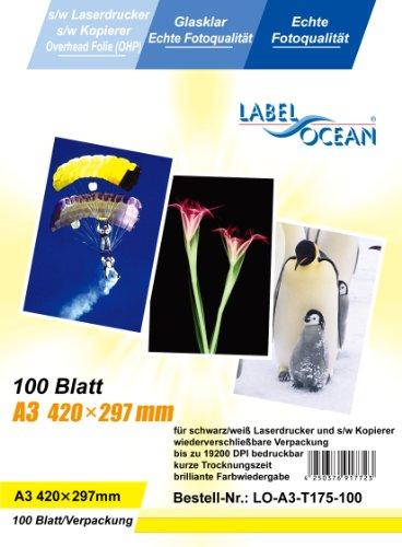 100 Blatt A3 Overheadfolie (OHP Transparentfolie Transparentpapier) für s/w Laserdrucker und Kopierer