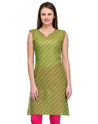 Cenizas Women Cotton Straight Kurta (Kurtis/2098/Grn/S _Green _Small)
