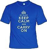 rohuf Design T-Shirt Set mit Minishirt - 50 Years Keep Calm and Carry On - Witziges Funshirt Als Geschenk Zum 50. Geburtstag, Größe:3XL