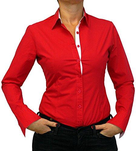 102-13 dames mesdames blouse Body manches longues solide coloré noir bleuclair blanc rouge S M L XL XXL. Rouge