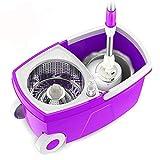 YANHTSO Fauler Mopp Rotierende Hand-Frei Nass Und Trocken Edelstahl Haushalt Doppelantrieb Handdruck Automatische Entwässerung Eimer Roller Mop (Farbe : Purple)