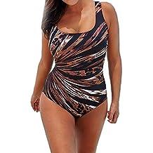 Lenfesh traje de baño mujer una pieza,Rayas de colores Bañador Tankini de una sola pieza Talla Grande L-3XL,bañadores con Relleno Push Up para mujeres