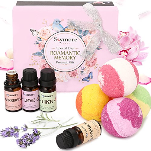 Skymore Set Romance, Cadeau Parfait Votre Partenaire---Huiles Essentielles & Bombe de Bains, 100% Pures & Naturelles, Natural Essential Oil Pour Aromathérapie & Humidificateurs