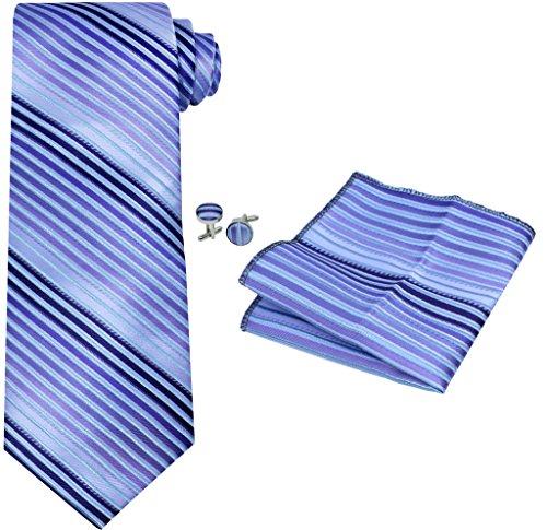 OCIA® rayas para hombre corbata de seda Conjunto:corbata + pañuelo bolsillo cuadrado + un par de gemelos + caja de regalo - T070 Original