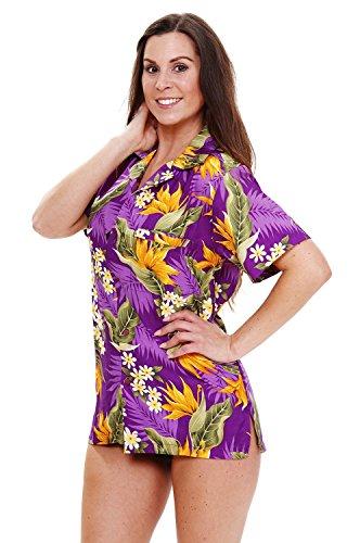 Original King Kameha | Funky Hawaiibluse Hawaiihemd | Damen | XS - 6XL | Kurzarm | Front-Tasche | Hawaii-Print | Blumen Strelizie Floral | Violett Violett
