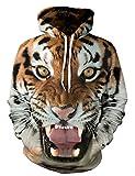KamiraCoco Herren Kapuzenpullover 3D Druck Muster Hoodie Weihnachten Halloween Sweatshirt Pullover (L/XL, Tiger)