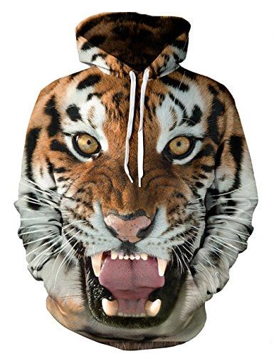 puzenpullover 3D Druck Muster Hoodie Weihnachten Halloween Sweatshirt Pullover (S / M, Tiger) (Tiger Kostüm-muster)