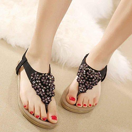 Amlaiworld Moda donna dolce perline appartamenti clip toe sandali nero