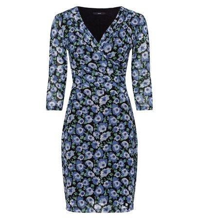 zero Damen Kleid mit Blumenmuster 413889 black 36