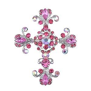 Alilang Frauen Antike inspiriert Wunderschöne Strass Heilig Kreuz Kostüm Halskette Anhänger Brosche