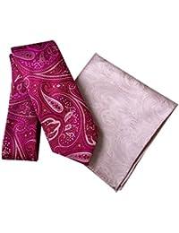 DUCHAMP London Men's 100% Silk Paisley Tie & Pocket Square - Fuchsia & Pink Design