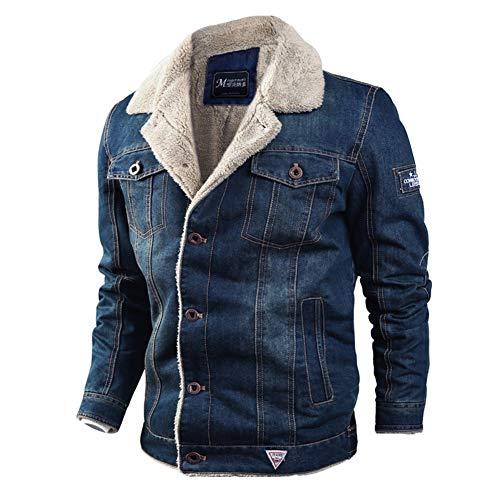 HUAN Mens Casual Mantel 2018 Winter Plus SAMT Thermo/Warme Jacken Lose Revers Plus Size Jeansjacke (Farbe : Dunkelblau, Größe : 5XL)