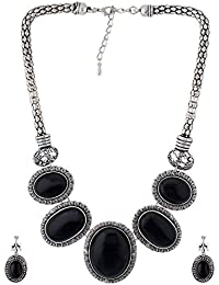 One Stop Fashion Oxide Silver And Black Colour Necklace Set For Girls And Women
