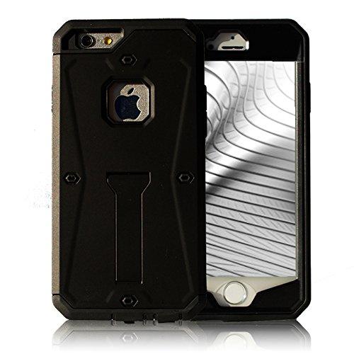 Full Cover Case für iPhone 6 Plus 6s Plus Schutz Hülle Hybrid Schwarz mit Kickstand aus TPU und Hart Plastik mit Kickstand Armor Schutzhülle Schwarz