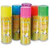6 x HC-Handel 911692 Party Luftschlangenspray 60 g verschiedene Farben oder Designs