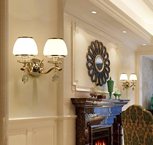 BESPD Europa S Kim Jane minimalistischen modernen Crystal Wandleuchte für Wohnzimmer Restaurant Flur Treppe Schlafzimmer Bett Lampen8810 Dual Head mit LED-Lampen Crystal Kerzenhalter Wandleuchte