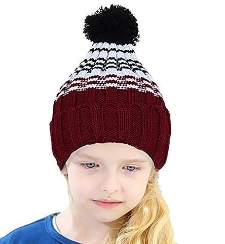 CoCo Fashion Zopfmuster Bommelmütze, Strickmütze mit bommel, Winter Beanie Mütze für Jungen und Mädchen (Rot)