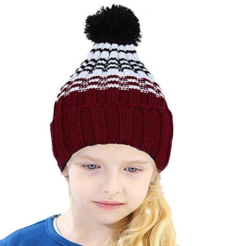 CoCo Fashion Zopfmuster Bommelmütze, Strickmütze mit bommel, Winter Beanie Mütze für Jungen und Mädchen (Ohren Mütze Elf Mit)