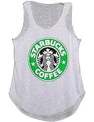 Nouveaux Mesdames Starbucks T-shirt Logo Imprimer Vest Coffee House Graphique Femmes Casual Vest Top Taille 36-42