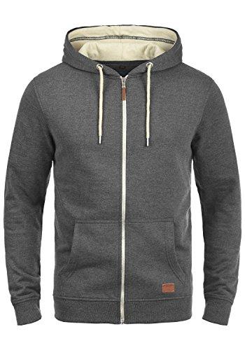 Zip-jacke Charcoal (BLEND Hulker Herren Sweatjacke Kapuzen-Jacke Zip-Hood aus hochwertiger Baumwollmischung Meliert, Größe:3XL, Farbe:Charcoal (70818))