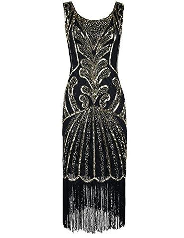 PrettyGuide Femmes 1920 Vintage Perlé Art Déco Inspiré robe Charleston L Or