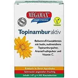 Megamax Topinambur mit Ballaststoff Inulin. Fruchtige Ballaststoff Kautabletten mit Ananasgeschmack. Inhalt: 105 Tbl. (147 g)