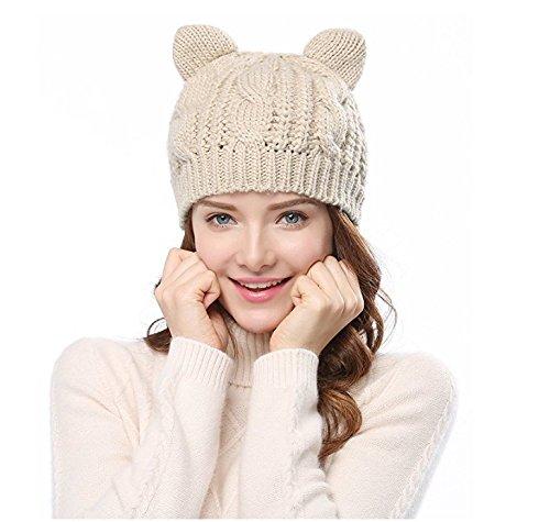 yeah67886Frauen Lady Warm Cat Cute Ohren Strick Wolle Hüte Cap (beige) (Hut Womens Kitty)