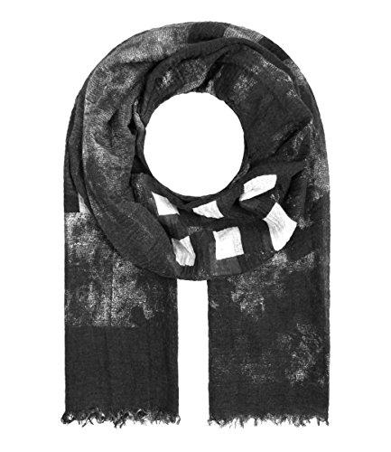 Majea Damen Schal Crash Optik XXL Tuch Neue Herbstkollektion Fransentuch Schals und Tücher mit Muster (schwarz 4)