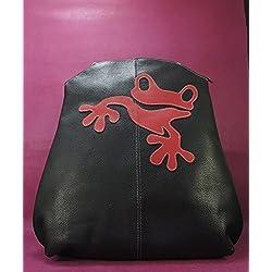 Mochila de piel negra Mochila de cuero Mochila artesanal Mochila Príncipe encantado Mochila de cuero con cierre de cremallera. Esta rana super simpatica, te alegrará cualquier look desenfadado.