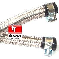 12mm diametro interno acciaio inossidabile intrecciato tubo carburante in gomma di nitrile con stazioni di finitura fine & clip lunghezza–1.25meter