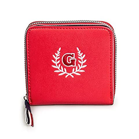 Fency Women's Embroidered Wallet Small Capacity PU Leather Zip Around With Wrist (Red)