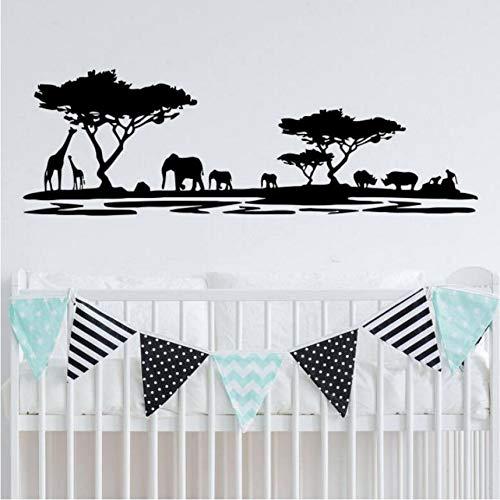 Safari Wandaufkleber Giraffe Elefant Tiere Wandtattoo Wald Natur Wandbild Kinderzimmer Kinderzimmer Dekor Wandkunst 130 * 42 Cm ()
