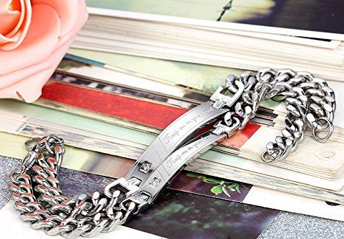 Flongo Partnerarmbänder 2x Partner Edelstahl Armband Armreif Link Handgelenk Panzerkette Kette Silber Valentine Lieben Paar Paare Verlobung His & Hers Set Herren,Damen