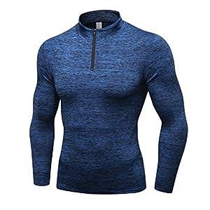 saymany Sportshirt Herren Man Workout Leggings Fitness Sports Gym Running Yoga Athletic Print Shirt Top Blouse
