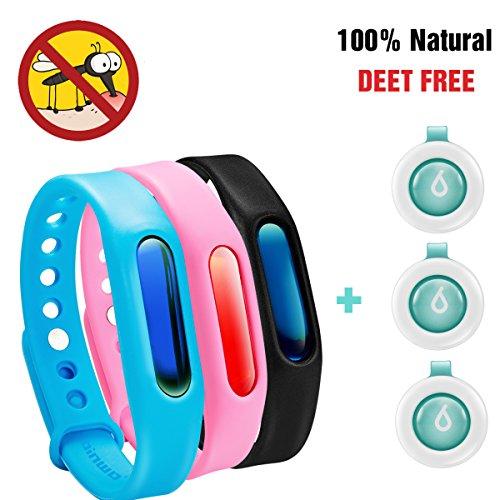 Anti Mückenarmband, Binwo bestes Indoor Outdoor Mückenschutz-Armband für bis zu 90 Tagen Schutz, Natürliches sicheres DEET-freies und wasserdichtes Insektenschutz-Armband für Kinder & Erwachsene