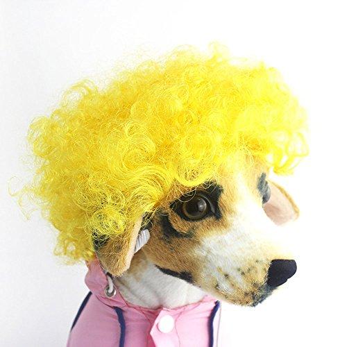 efanr Pet Kopfschmuck Perücke Funny Hund Katze blond kurz Perücken syethetic Haar Cosplay Kostüme Pflege Zubehör Fancy Kleid bis lockiges Haar - Lockiges Haar Katze Kostüm