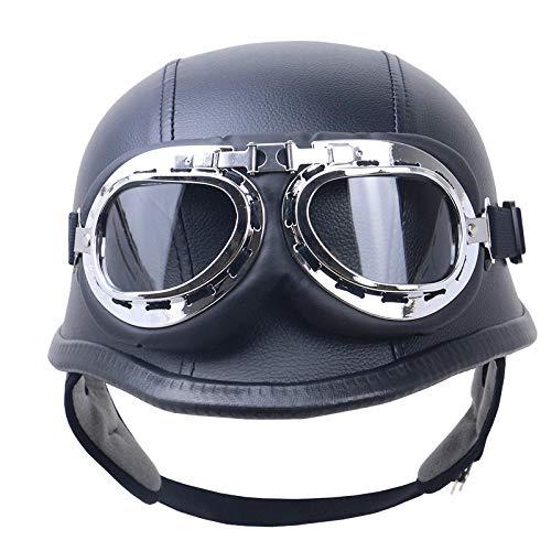 Helm für Motorrad und Fahrrad mit Pilotenbrille, Leder, Schwarz