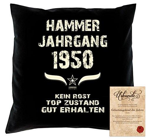tag Deko-Kissen Sofakissen Dekokissen Jahreszahl Aufdruck Hammer Jahrgang 1950 :-: Größe: 40x40cm und Urkunde Farbe: schwarz (1950 Deko-ideen)