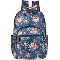 Leaper Cute Floral Waterproof Canvas + PVC Layer Backpack College Bags Blue